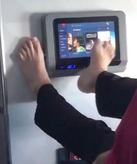 Disgusting Footage Shows Man Operating Plane TV With His FOOT!