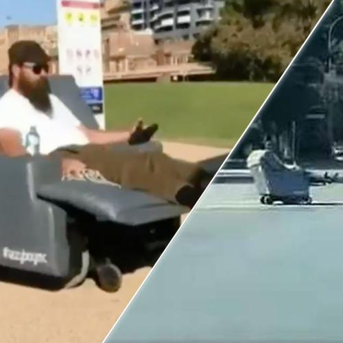 Two Men Spotted Riding Motorised Lounge Chairs Down Busy Aussie Road