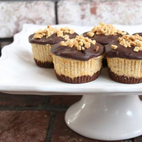 Mini Chocolate Peanut Butter Cheesecakes!