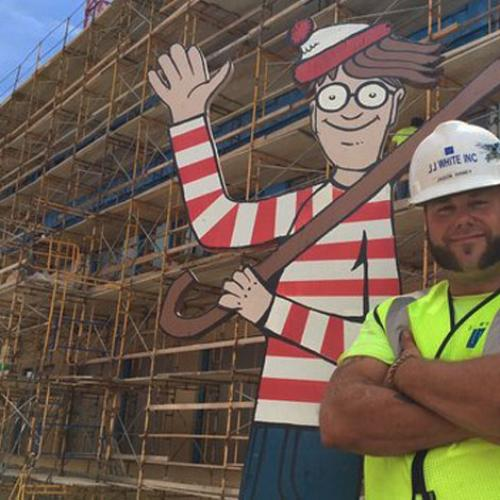 Construction Worker Hides Giant Wheres Wally For Sick Kids