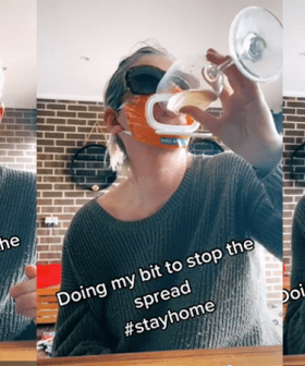 This Aldi Shopper Made A Face Mask Out of Baby Wipes So She Can Drink Wine