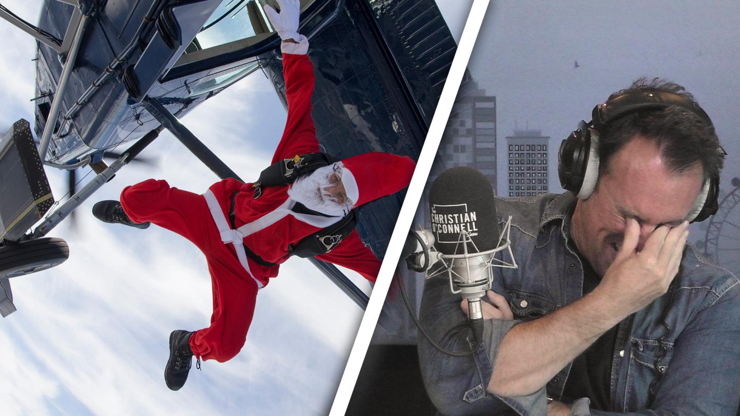 It Came From Above: Skydiving Santa!
