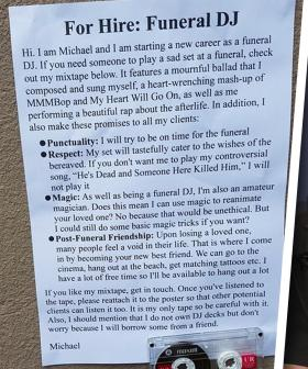 """""""I Didn't Know This Was A Thing"""" Christian's Dad Spotted An Ad For A Funeral DJ And It's Hilarious"""